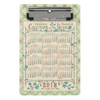 2018 Year Calendar Victorian Art Nouveau | Custom Mini Clipboard
