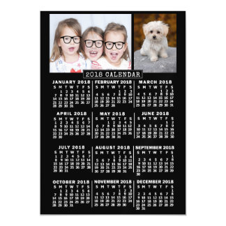 2018 Year Monthly Calendar Black | Photo Template Magnetic Card