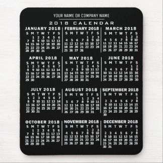 2018 Year Monthly Calendar Black White Custom Name Mouse Pad