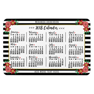 2018 Year Monthly Calendar Floral Stripes Trendy Magnet