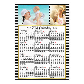 2018 Year Monthly Calendar Stripes | Custom Photos Magnetic Card