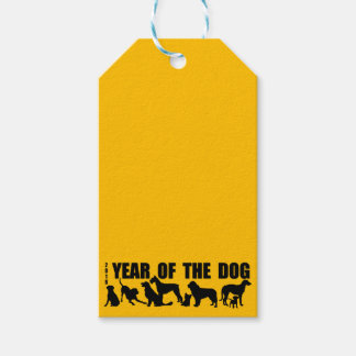 2018 Year of The Dog Yellow Gift Tag