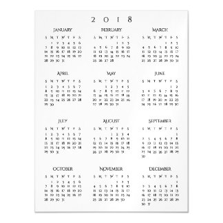 2018 Yearly Calendar Simple Elegant Home Office Magnetic Card