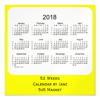 2018 Yellow 52 Weeks Calendar by Janz Magnetic Invitations