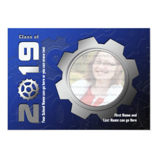 2019 Blue and Silver Gear Graduation Invitation