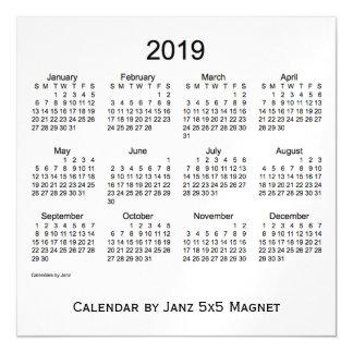 2019 White Smoke Calendar by Janz 5x5 Magnet Magnetic Invitations