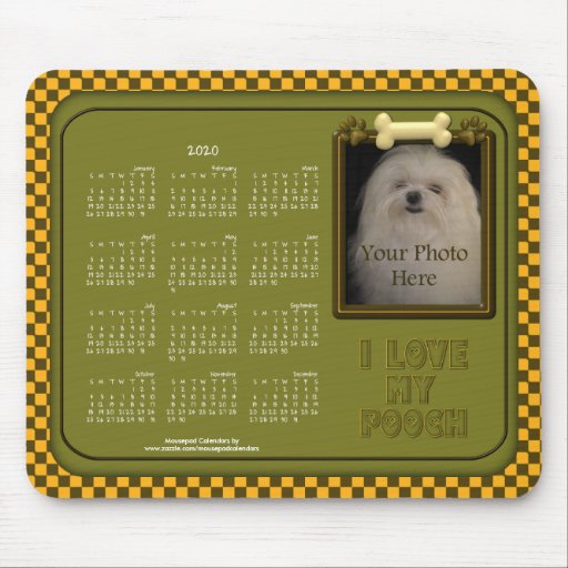 2020 Calendar Mousepad-Love My Pooch,Green