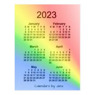 2023 Rainbow 6 Month Mini Calendar by Janz Postcard