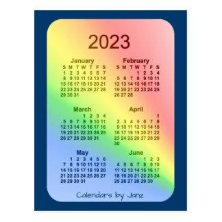 2023 Rainbow Blue 6 Month Mini Calendar by Janz Postcard