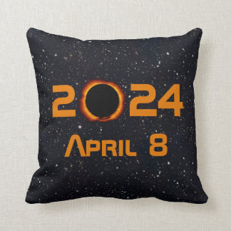 2024 Total Solar Eclipse Date Starry Sky Throw Pillow