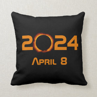 2024 Total Solar Eclipse Date Throw Pillow
