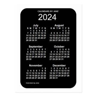 2024 White Neon 6 Month Mini Calendar by Janz Postcard