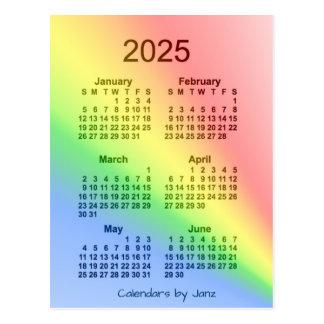 2025 Rainbow 6 Month Mini Calendar by Janz Postcard