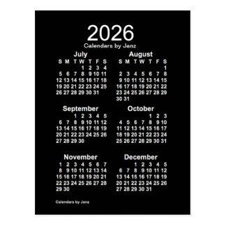2026 Neon White 6 Month Mini Calendar by Janz Postcard