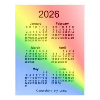 2026 Rainbow 6 Month Mini Calendar by Janz Postcard