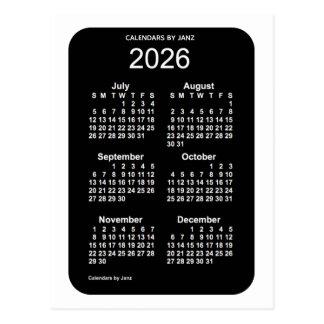 2026 White Neon 6 Month Mini Calendar by Janz Postcard