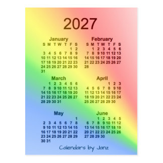 2027 Rainbow 6 Month Mini Calendar by Janz Postcard