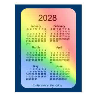 2028 Rainbow Blue 6 Month Mini Calendar by Janz Postcard