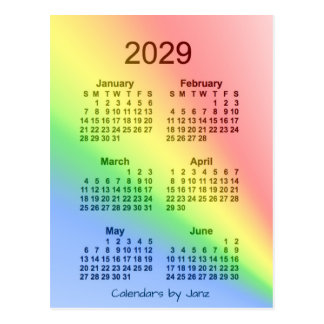 2029 Rainbow 6 Month Mini Calendar by Janz Postcard