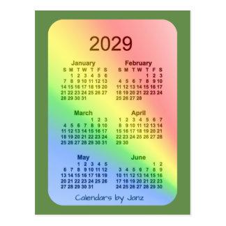 2029 Rainbow Green 6 Month Mini Calendar by Janz Postcard