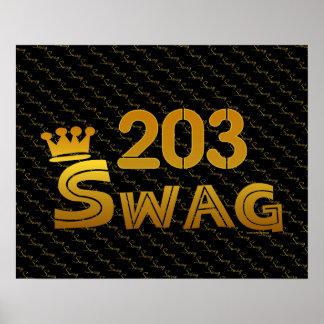 203 Area Code Swag Print