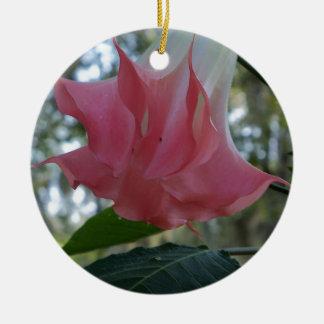 205a Angels trumpet pink close Ceramic Ornament