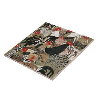 20. 群鶏図, 若冲 Flock of Roosters, Jakuchu, Japan Art Tile