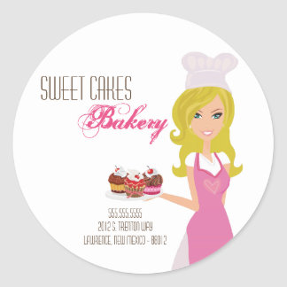 "20 - 1.5""  Blonde Baker on Pink Address Stickers"