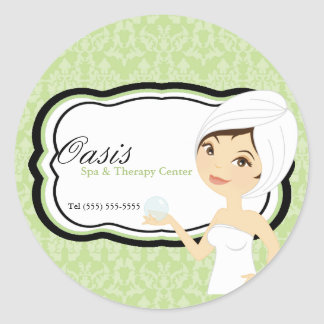 "20 - 1.5"" Business Stick Green Damask Spa Massage Classic Round Sticker"