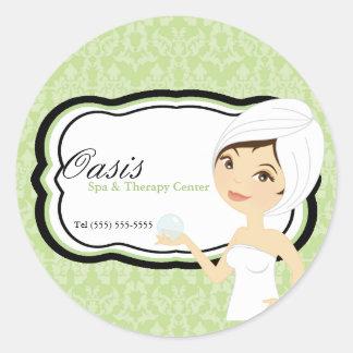 """20 - 1.5"""" Business Stick Green Damask Spa Massage Classic Round Sticker"""