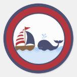 "20 - 1.5""  Envelope Seal Ahoy Nautical Whale Boat"