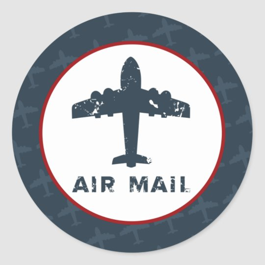 "20 - 1.5"" Envelope Seal Airplane Flight  Blue/Red"