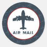 "20 - 1.5"" Envelope Seal Airplane Flight  Blue/Red Round Stickers"