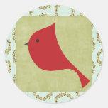 """20 - 1.5"""" Envelope Seal Cardinal Christmas Bird Round Stickers"""