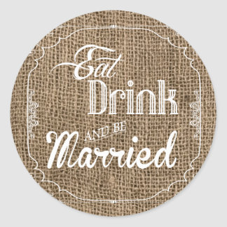 20 - 1.5  Envelope Seal Eat Drink Be Married Burla Round Sticker