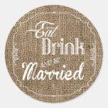 20 - 1.5  Envelope Seal Eat Drink Be Married Burla Round Sticker