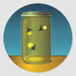 """20 - 1.5"""" Envelope Seal Fireflies and Mason Jars Round Stickers"""