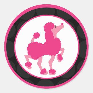 "20 - 1.5""  Envelope Seal French Pink Poodle Paris Round Sticker"