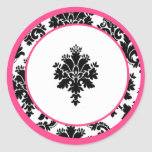 "20 - 1.5""  Envelope Seal Hot Pink Black Damask Sticker"
