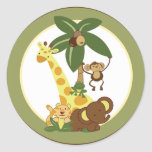 "20 - 1.5"" Envelope Seal Jungle Babies Round Stickers"