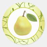 "20 - 1.5"" Envelope Seal Lime Green Pear Swirls Round Sticker"