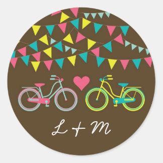 20 - 1.5  Envelope Seal Lovers Bike Bicycle Round Sticker