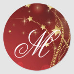 20 - 1.5  Envelope Seal Monogram Christmas XMAS Round Sticker