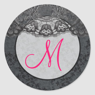 20 - 1 5 Envelope Seal Monogram Lace Floral Pink Round Stickers