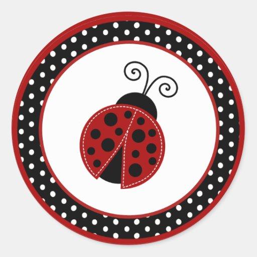 "20 - 1.5"" Envelope Seal Red Ladybug Sticker"