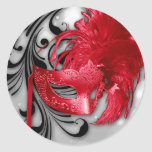 20 - 1.5  Envelope Seal Red on Silver Masquerade Round Stickers