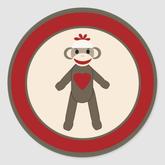 "20 - 1.5""  Envelope Seal Red Sock Monkey Round Sticker"