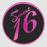 "20 - 1.5""  Envelope Seal Sweet 16 Pink Black Party Round Sticker"