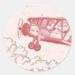 20 - 1.5 Envelope Seal Vintage Airplane in Clouds Round Sticker
