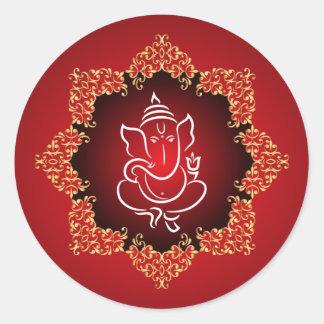 "20 - 1.5"" Envelope Sticker Lord Ganesha/Hindu Red"